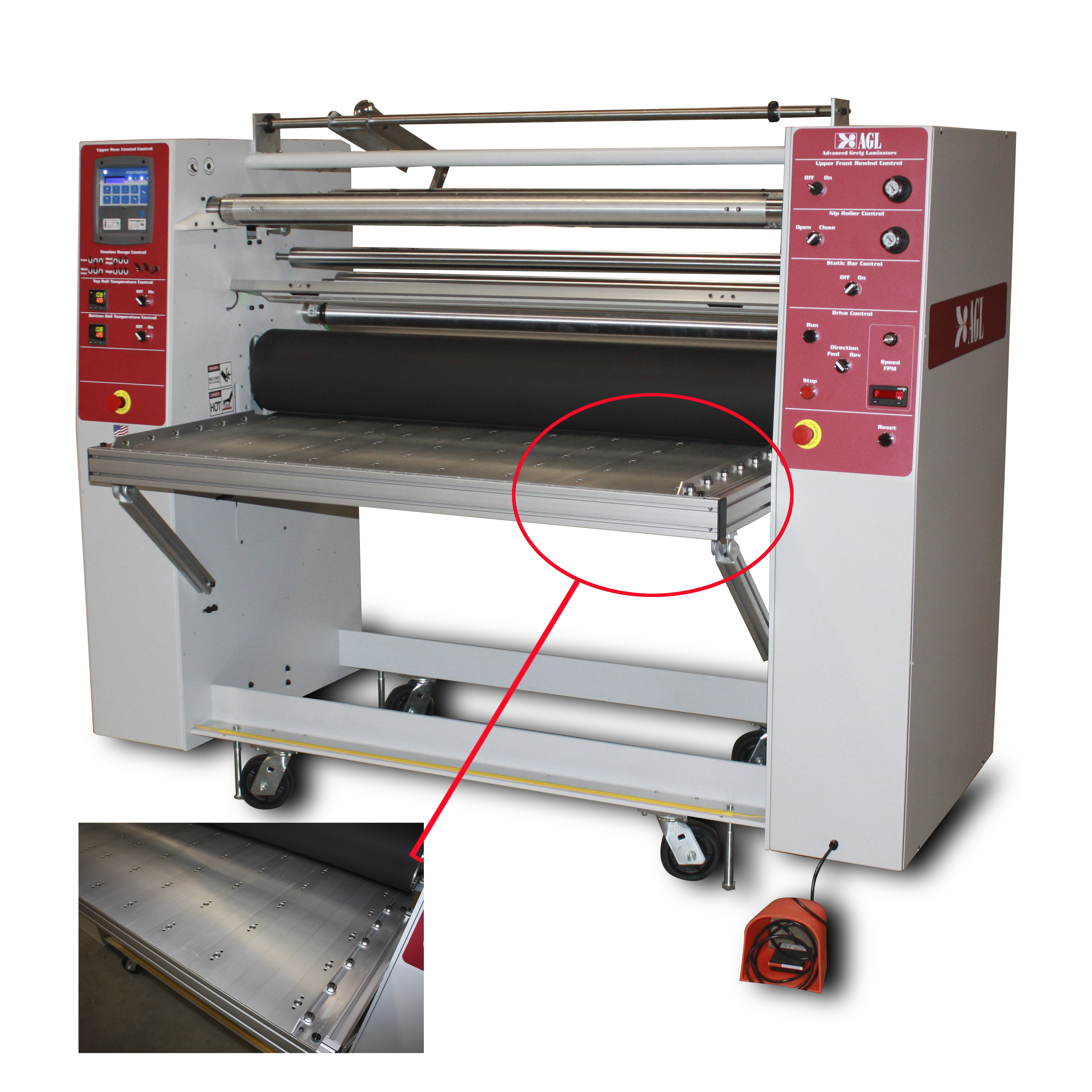 AGL 54 Glass Laminating machine and a close up of the ball bearing easy glide feed table.